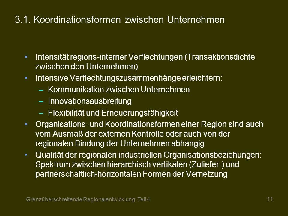 3.1. Koordinationsformen zwischen Unternehmen