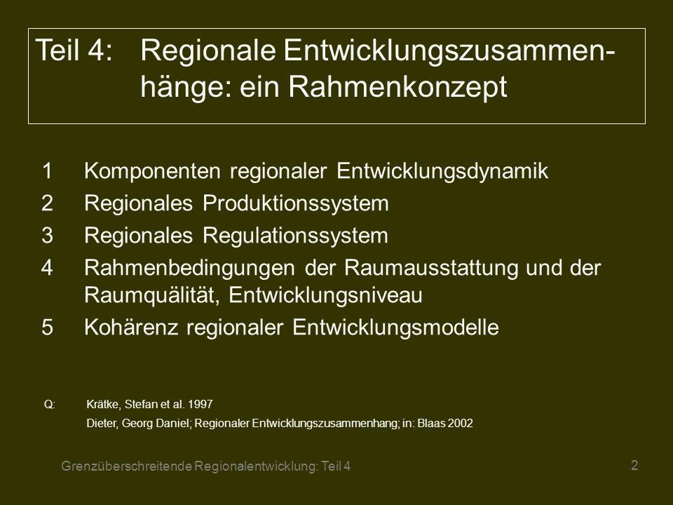 Teil 4: Regionale Entwicklungszusammen-hänge: ein Rahmenkonzept