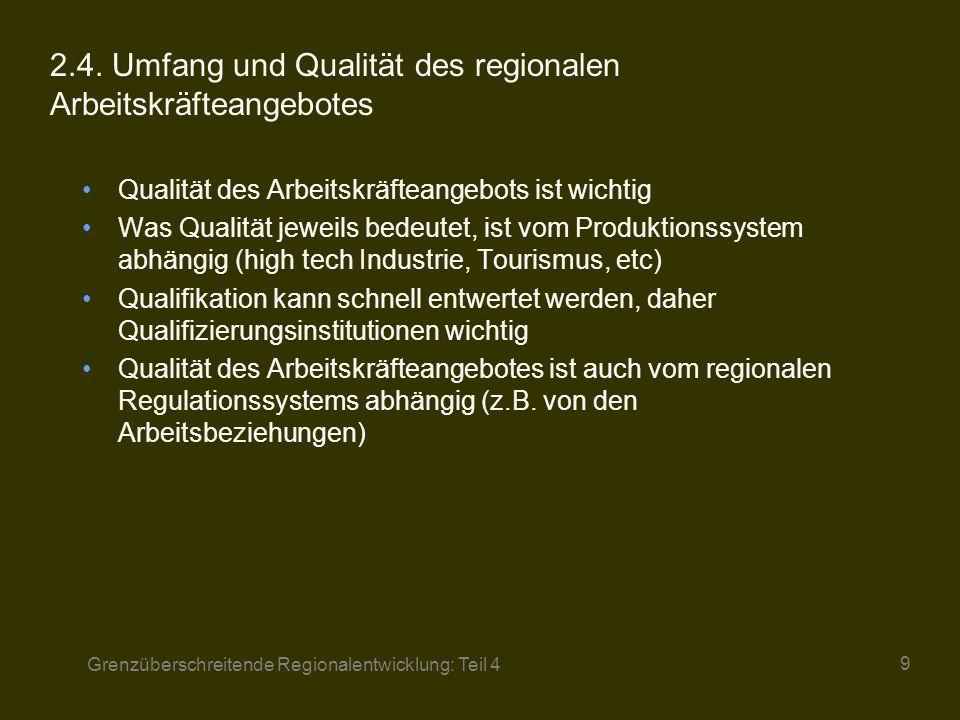 2.4. Umfang und Qualität des regionalen Arbeitskräfteangebotes