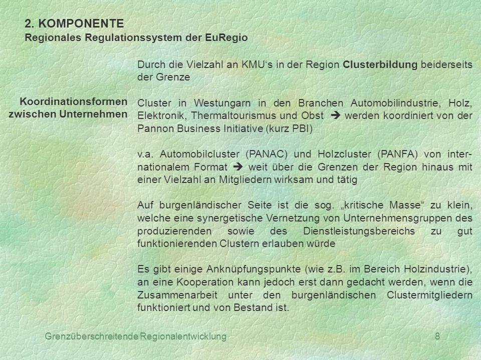2. KOMPONENTE Regionales Regulationssystem der EuRegio