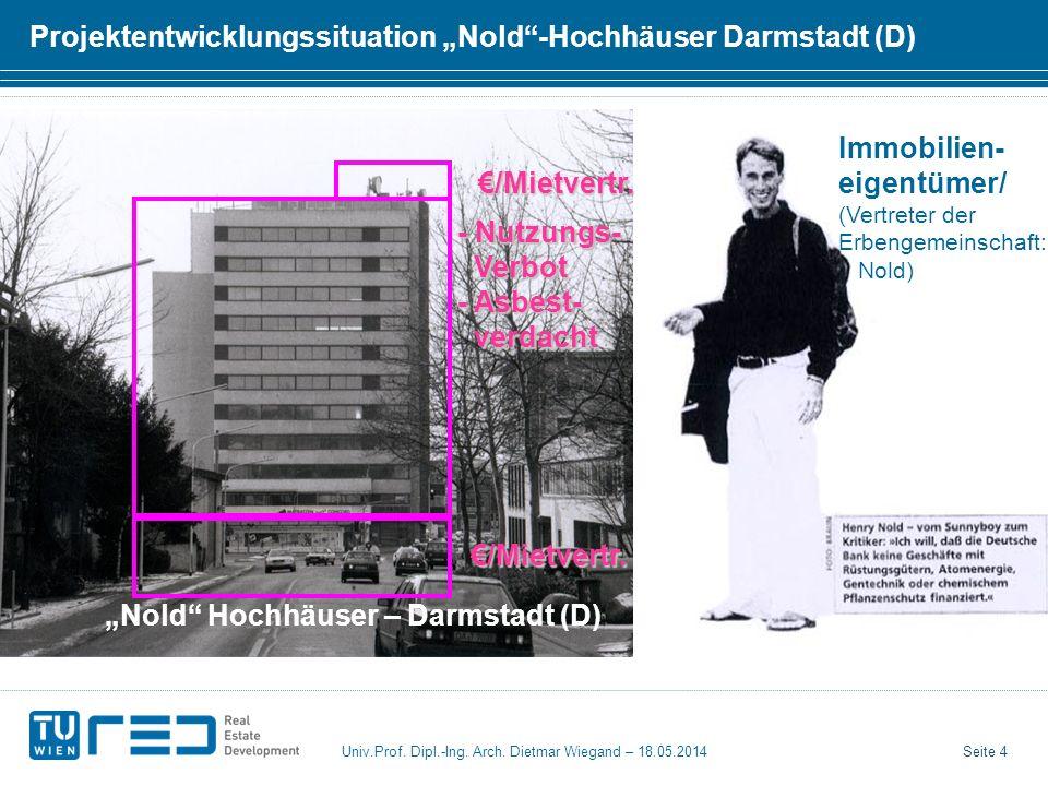 """Projektentwicklungssituation """"Nold -Hochhäuser Darmstadt (D)"""