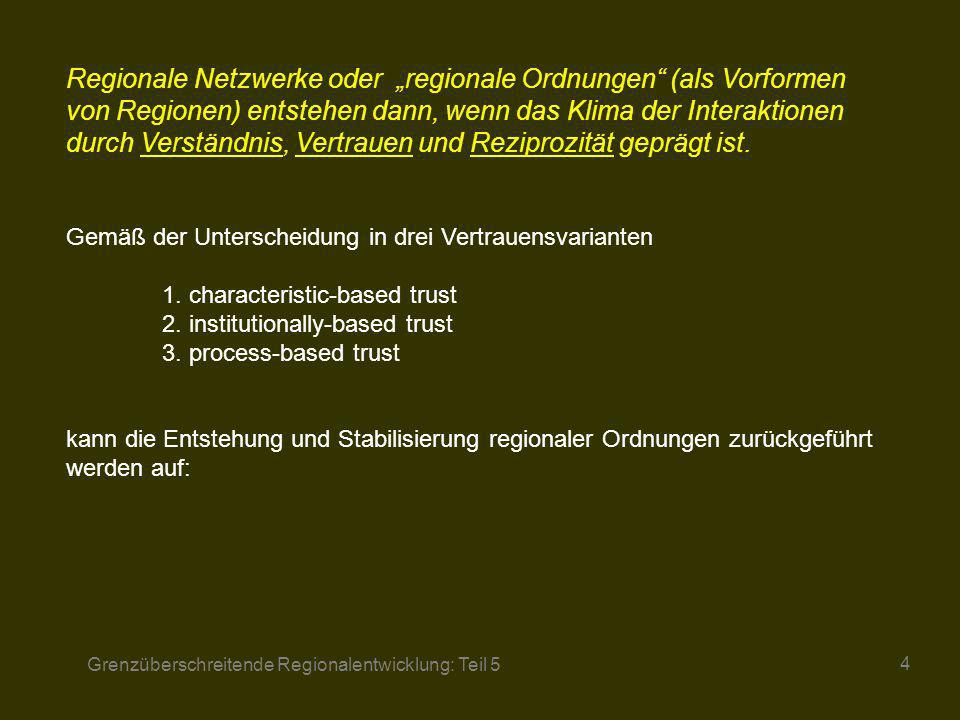 """Regionale Netzwerke oder """"regionale Ordnungen (als Vorformen von Regionen) entstehen dann, wenn das Klima der Interaktionen durch Verständnis, Vertrauen und Reziprozität geprägt ist. Gemäß der Unterscheidung in drei Vertrauensvarianten 1. characteristic-based trust 2. institutionally-based trust 3. process-based trust"""