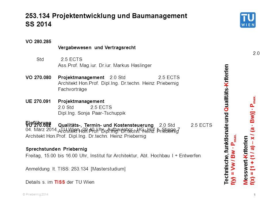 253.134 Projektentwicklung und Baumanagement SS 2014