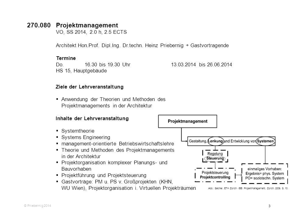 270.080 Projektmanagement VO, SS 2014, 2.0 h, 2.5 ECTS. Architekt Hon.Prof. Dipl.Ing. Dr.techn. Heinz Priebernig + Gastvortragende.