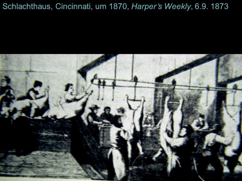 Schlachthaus, Cincinnati, um 1870, Harper's Weekly, 6.9. 1873