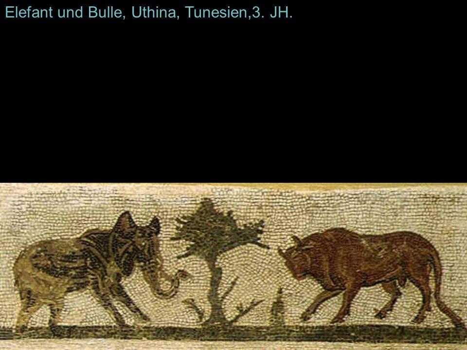 Elefant und Bulle, Uthina, Tunesien,3. JH.