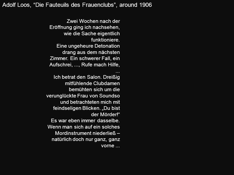 Adolf Loos, Die Fauteuils des Frauenclubs , around 1906