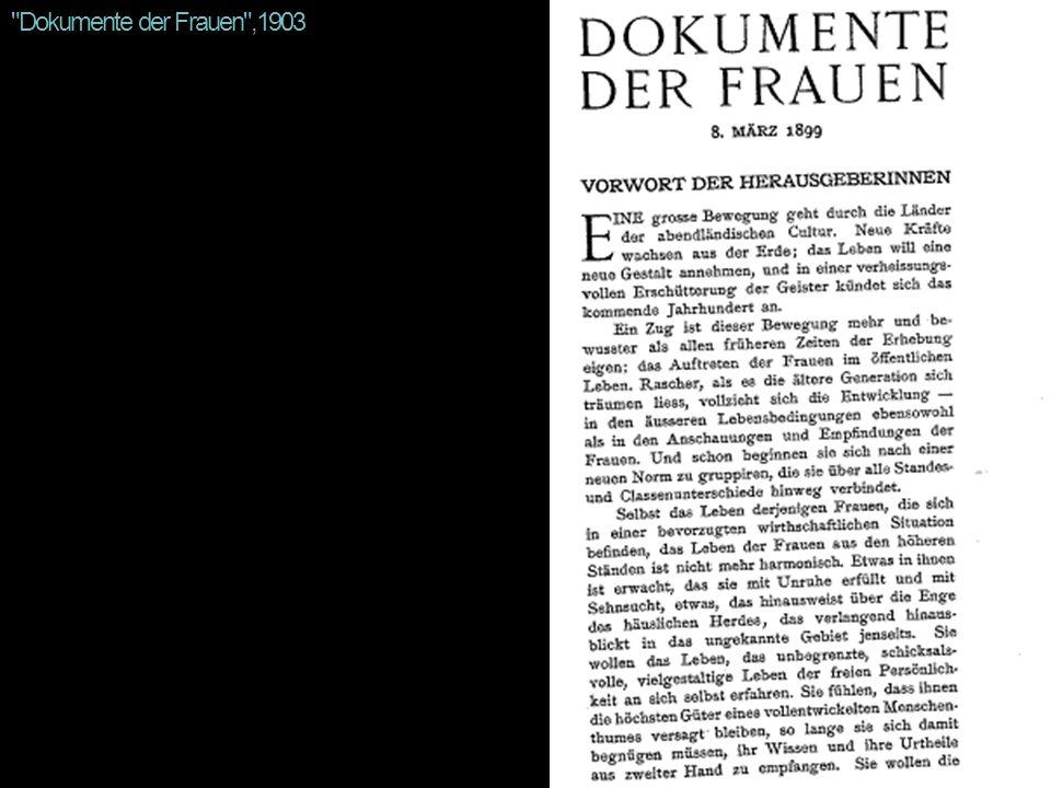 Dokumente der Frauen ,1903