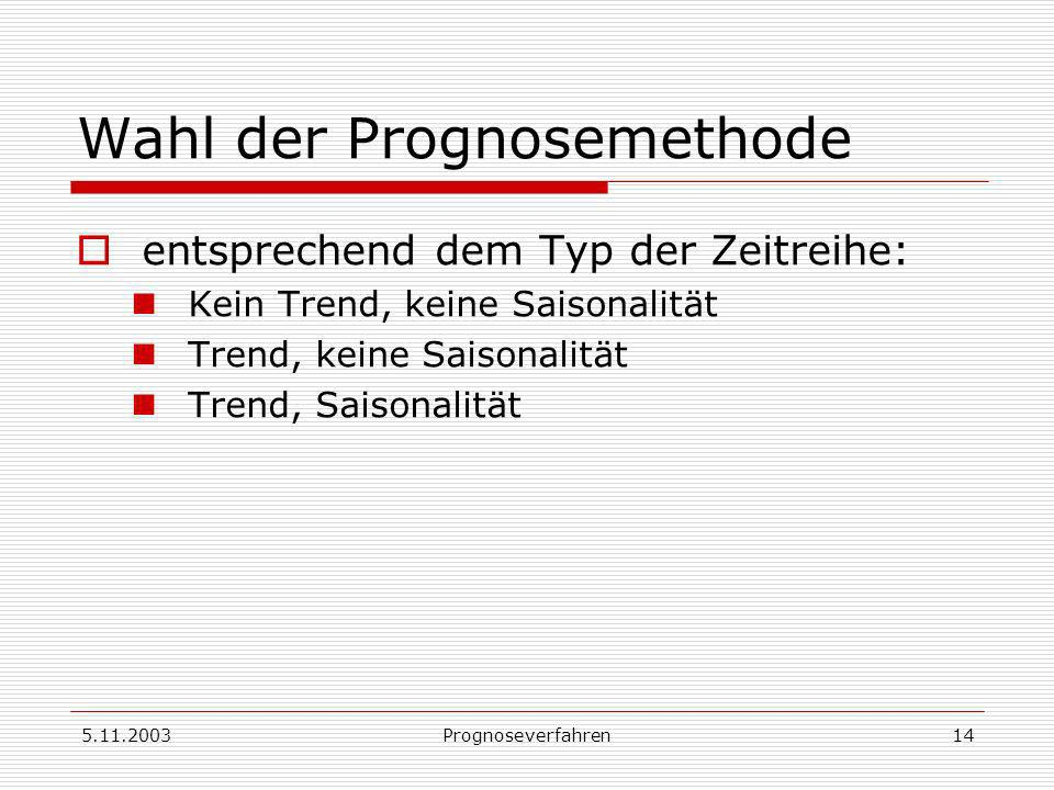 Wahl der Prognosemethode