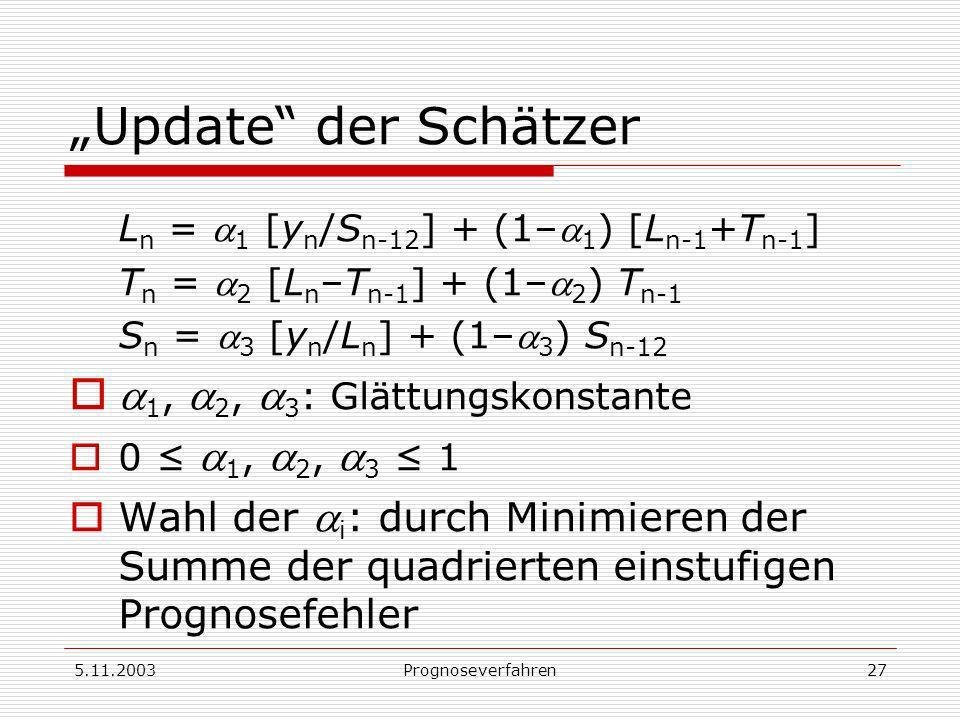 """""""Update der Schätzer a1, a2, a3: Glättungskonstante"""