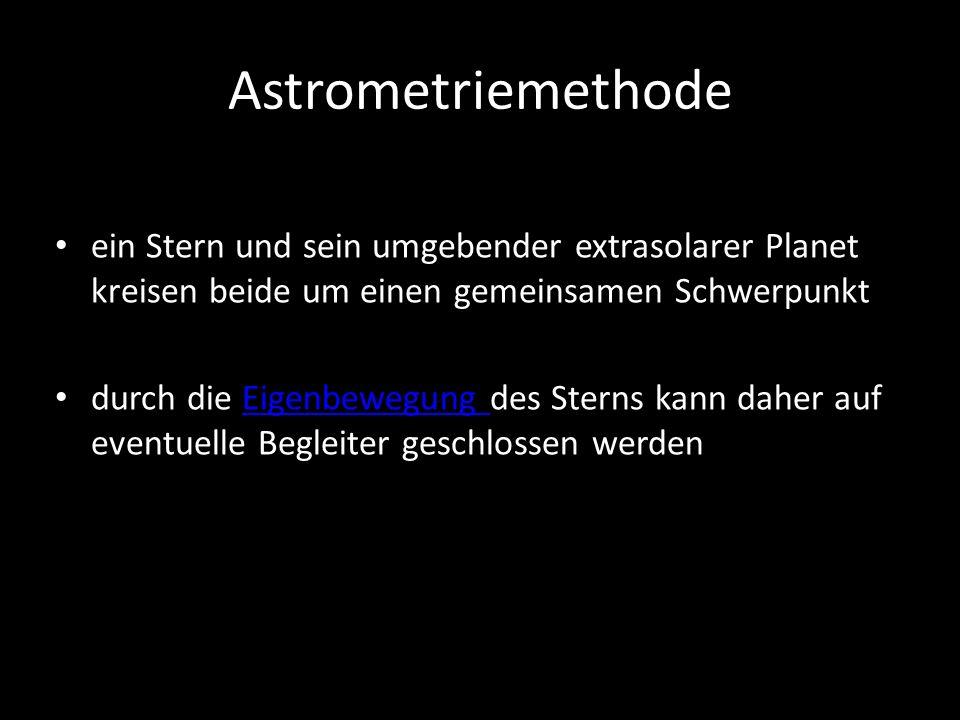 Astrometriemethode ein Stern und sein umgebender extrasolarer Planet kreisen beide um einen gemeinsamen Schwerpunkt.