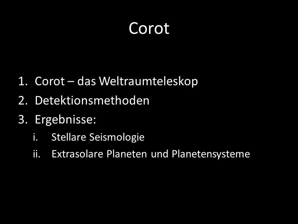 Corot Corot – das Weltraumteleskop Detektionsmethoden Ergebnisse: