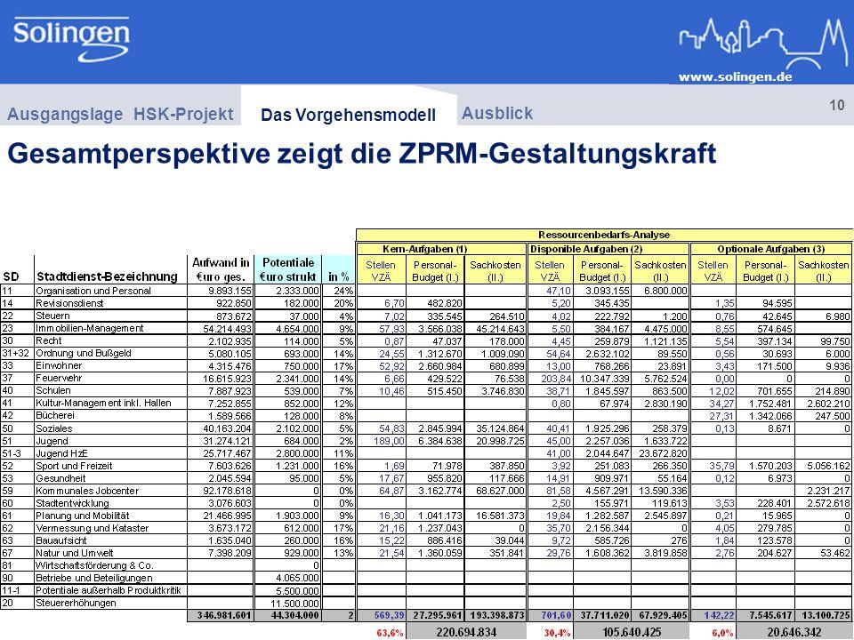 Gesamtperspektive zeigt die ZPRM-Gestaltungskraft