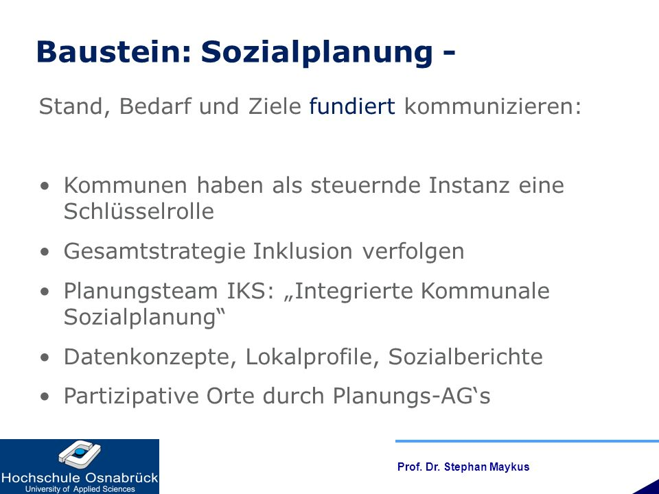 Baustein: Sozialplanung -