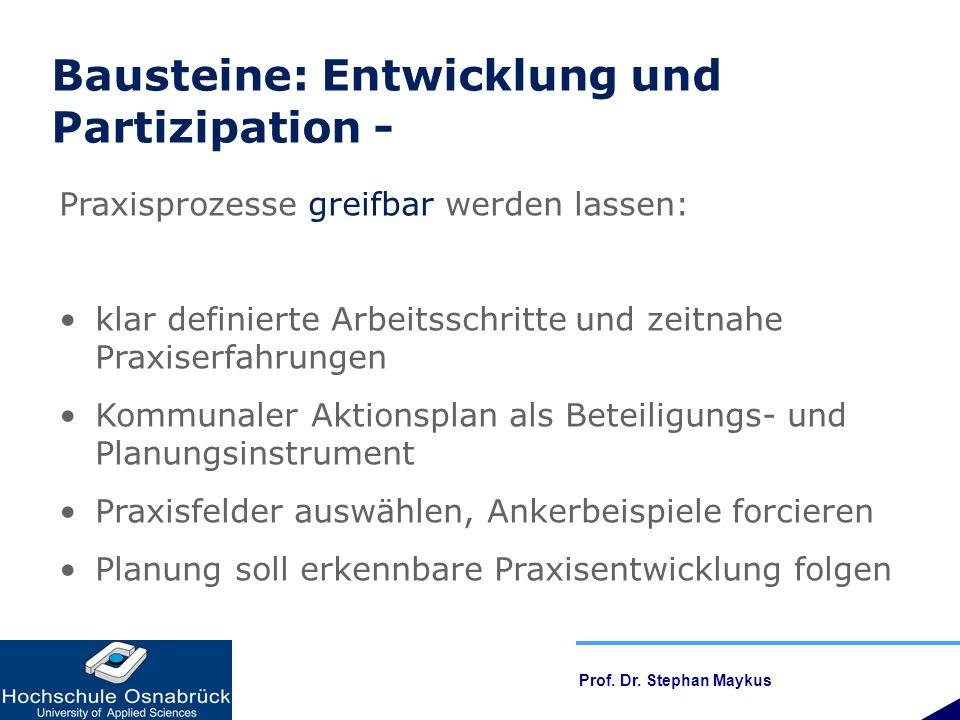 Bausteine: Entwicklung und Partizipation -