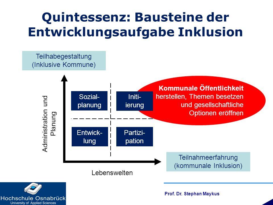 Quintessenz: Bausteine der Entwicklungsaufgabe Inklusion