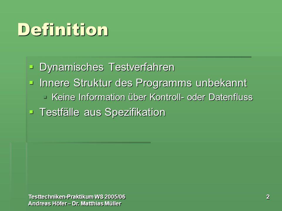 Definition Dynamisches Testverfahren