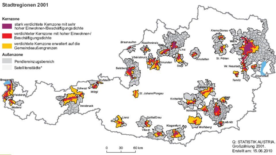 … in der Praxis (2) kontinuierliches Wachstum städtischer Agglomerationen versus Schrumpfung und ökonomische Destabilisierung ländlicher Peripherien.