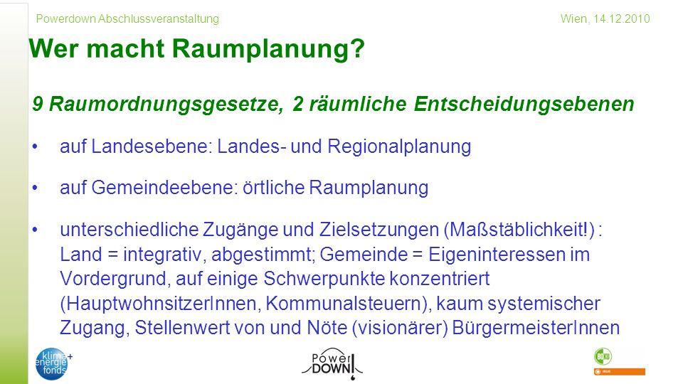 Wer macht Raumplanung 9 Raumordnungsgesetze, 2 räumliche Entscheidungsebenen. auf Landesebene: Landes- und Regionalplanung.