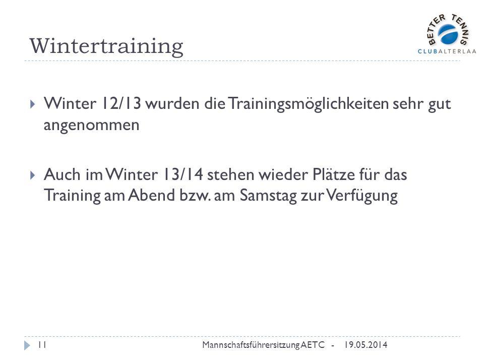 Wintertraining Winter 12/13 wurden die Trainingsmöglichkeiten sehr gut angenommen.