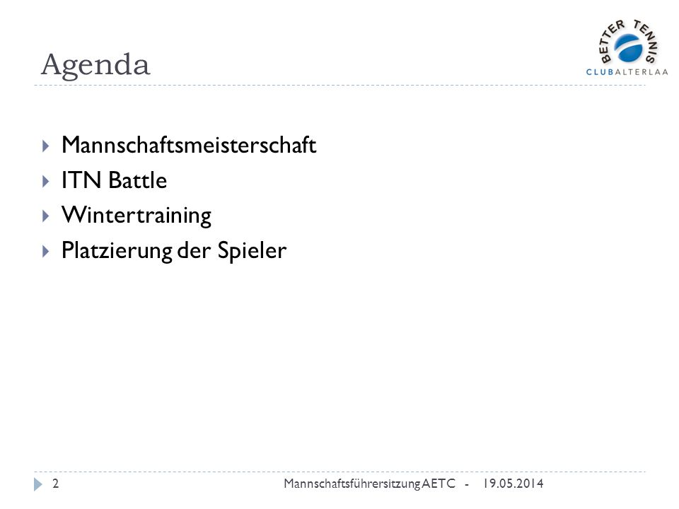 Agenda Mannschaftsmeisterschaft ITN Battle Wintertraining