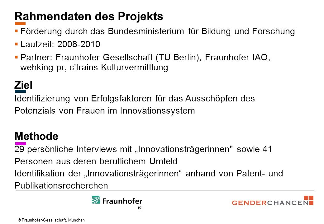 Rahmendaten des Projekts