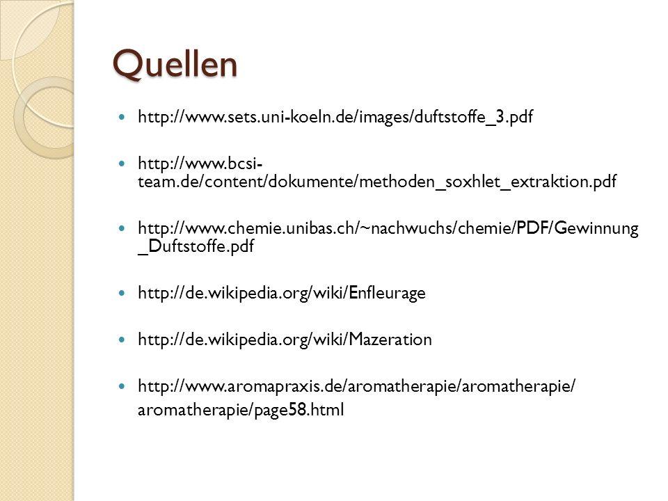 Quellen http://www.sets.uni-koeln.de/images/duftstoffe_3.pdf