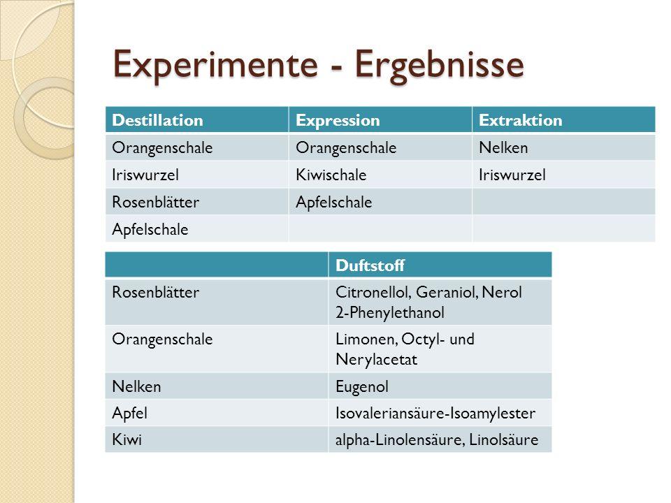 Experimente - Ergebnisse
