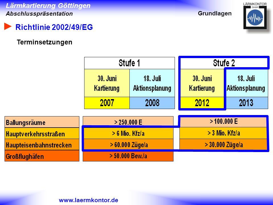 Grundlagen ► Richtlinie 2002/49/EG Terminsetzungen