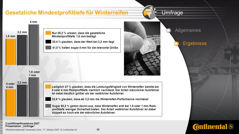 Gesetzliche Mindestprofiltiefe für Winterreifen Umfrage