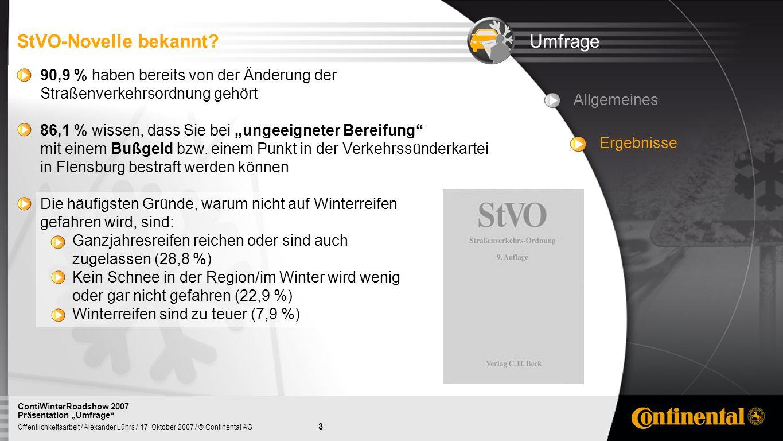 StVO-Novelle bekannt Umfrage