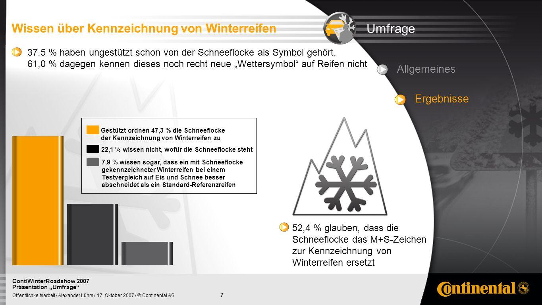 Umfrage Wissen über Kennzeichnung von Winterreifen Allgemeines