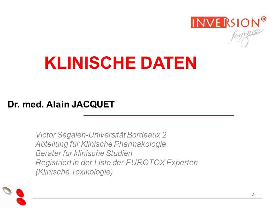 KLINISCHE DATEN Dr. med. Alain JACQUET Dr Alain Jacquet