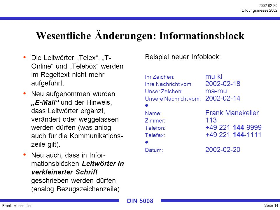Wesentliche Änderungen: Informationsblock
