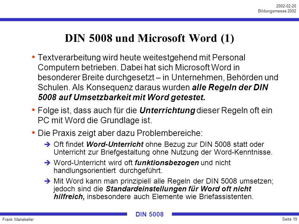 DIN 5008 und Microsoft Word (1)