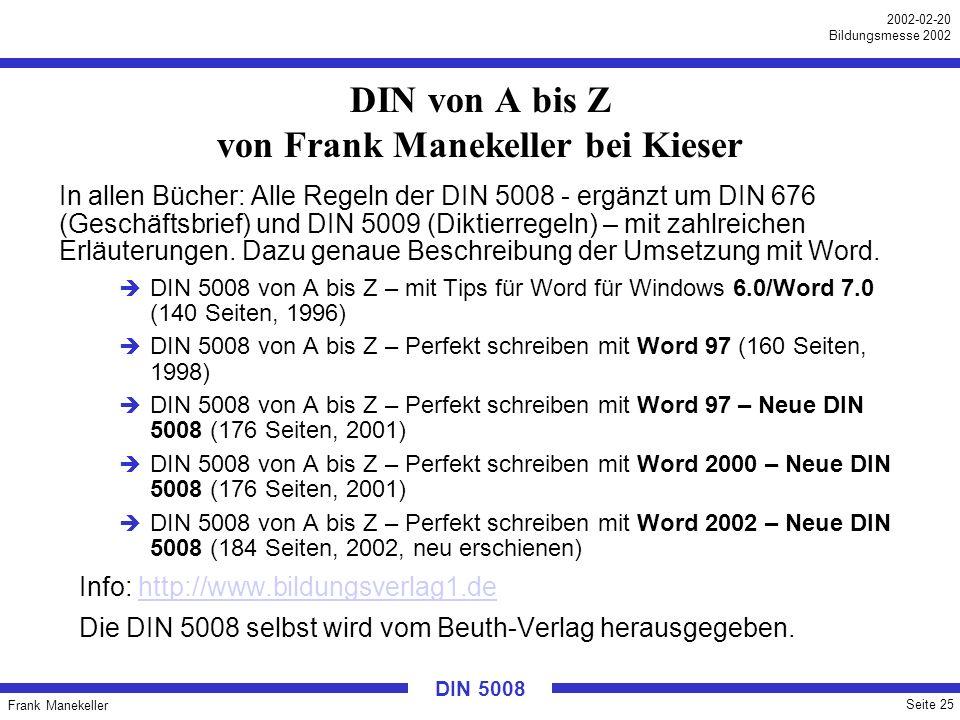 DIN von A bis Z von Frank Manekeller bei Kieser