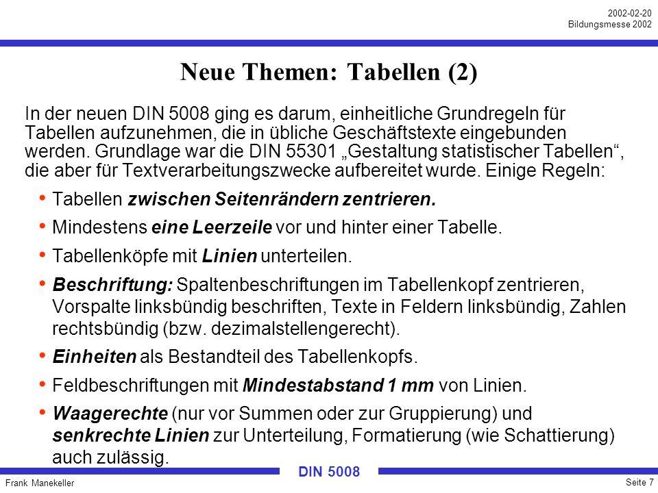 Neue Themen: Tabellen (2)