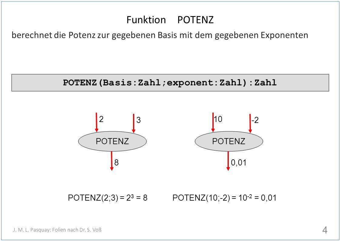 berechnet die Potenz zur gegebenen Basis mit dem gegebenen Exponenten