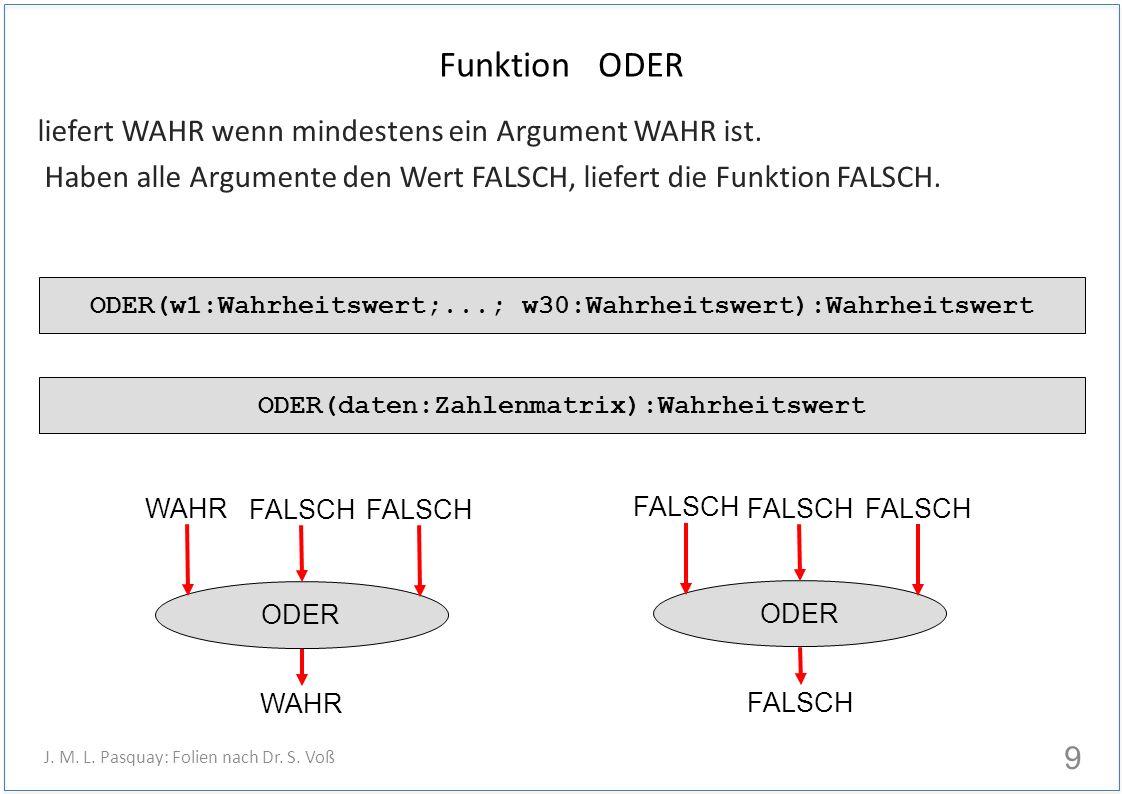 Funktion ODER liefert WAHR wenn mindestens ein Argument WAHR ist.