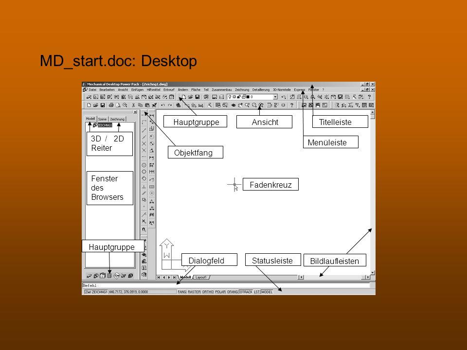 MD_start.doc: Desktop Hauptgruppe Ansicht Titelleiste 3D / 2D Reiter
