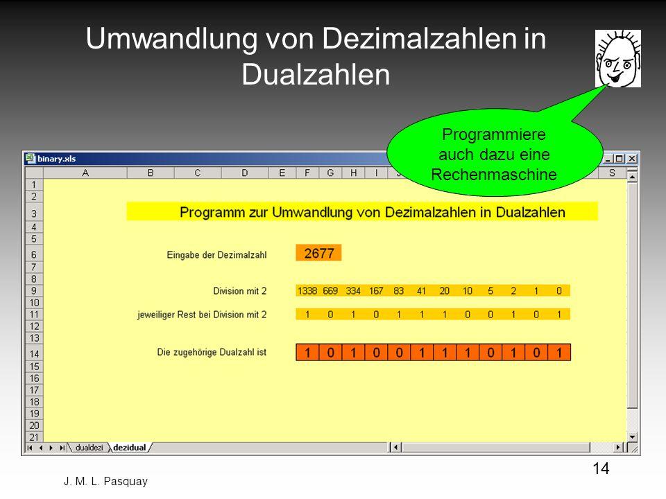 Umwandlung von Dezimalzahlen in Dualzahlen