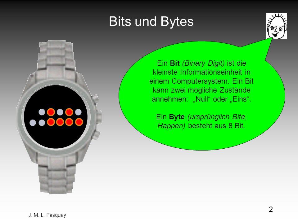 Ein Byte (ursprünglich Bite, Happen) besteht aus 8 Bit.