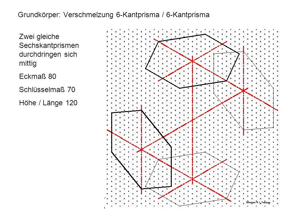 Grundkörper: Verschmelzung 6-Kantprisma / 6-Kantprisma