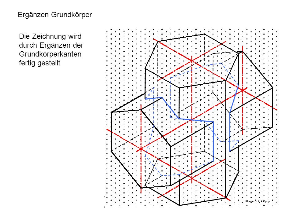 Ergänzen Grundkörper Die Zeichnung wird durch Ergänzen der Grundkörperkanten fertig gestellt