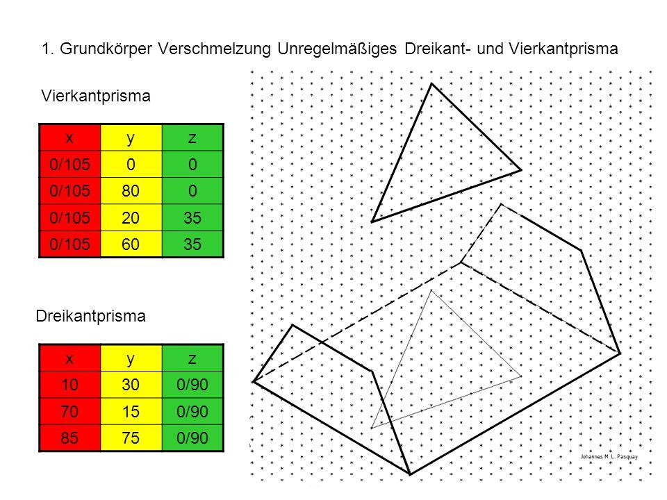 1. Grundkörper Verschmelzung Unregelmäßiges Dreikant- und Vierkantprisma