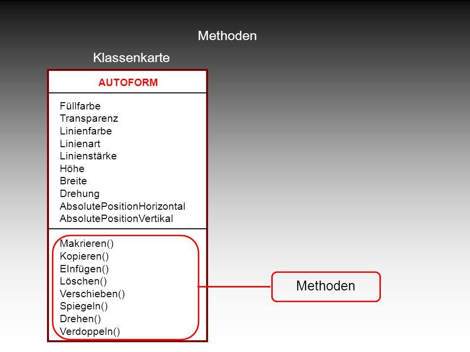 Methoden Klassenkarte Methoden AUTOFORM Füllfarbe Transparenz