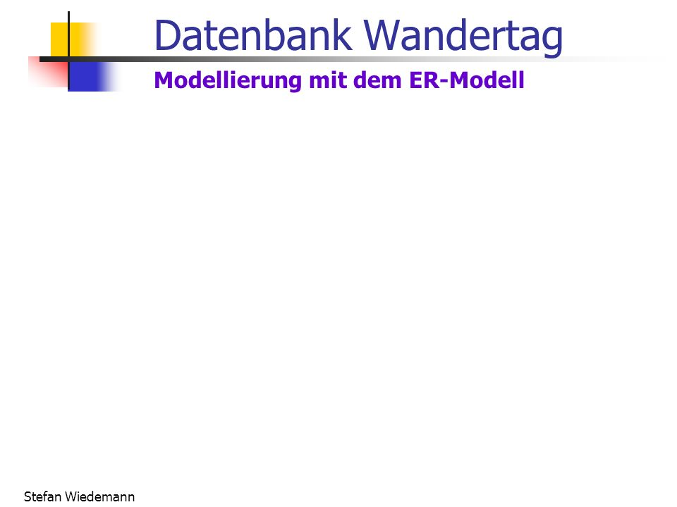 Datenbank Wandertag Modellierung mit dem ER-Modell Stefan Wiedemann