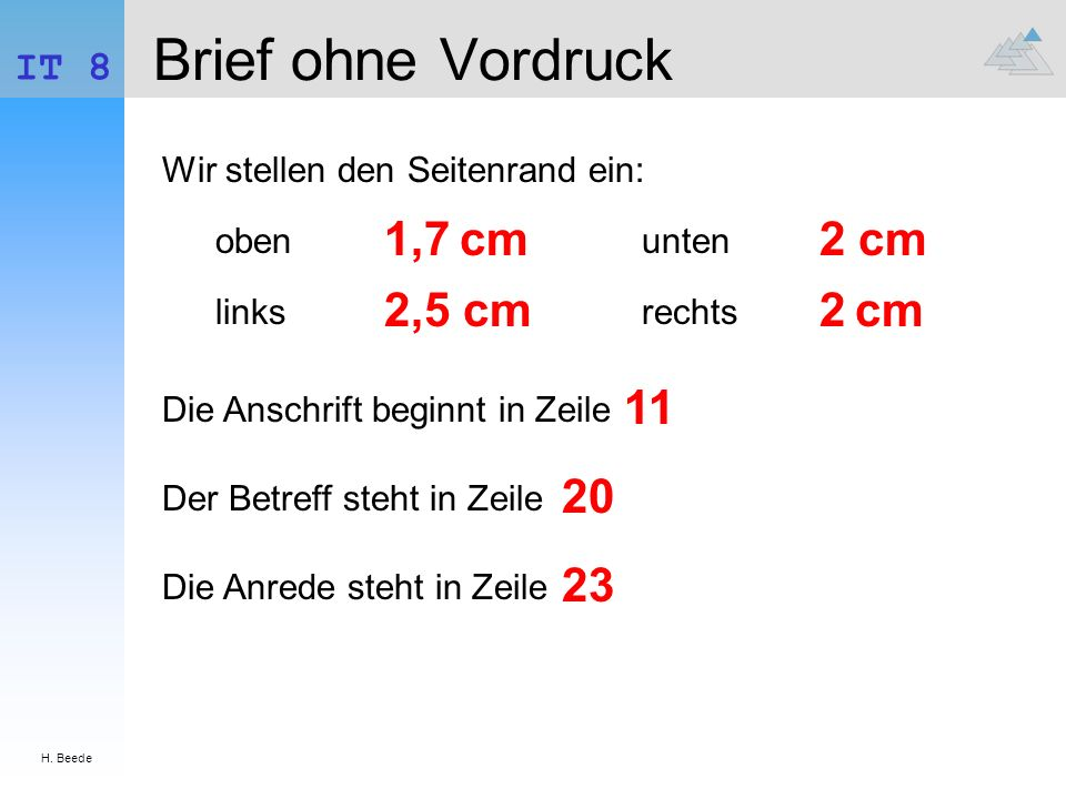 Brief ohne Vordruck 1,7 cm 2 cm 2,5 cm 2 cm 11 20 23 IT 8