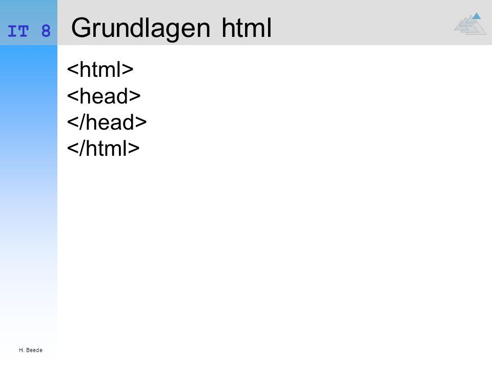 Grundlagen html <html> <head> </head> </html>