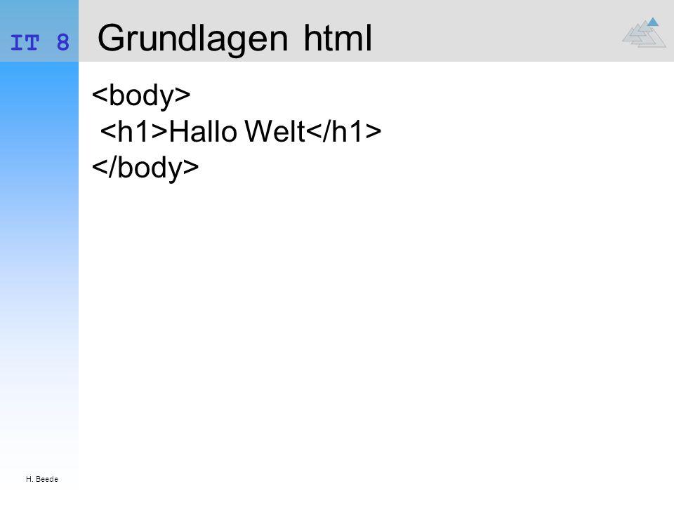 Grundlagen html <body> <h1>Hallo Welt</h1>